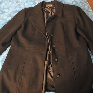 Black Wool Coat with Buttons & Tie Closure